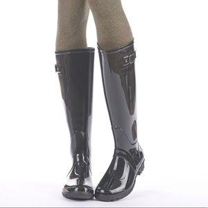 Black Tall Knee High Waterproof Rain Boots